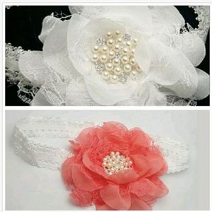 Headbands Baby Toddlers Fabric Flower White Lace